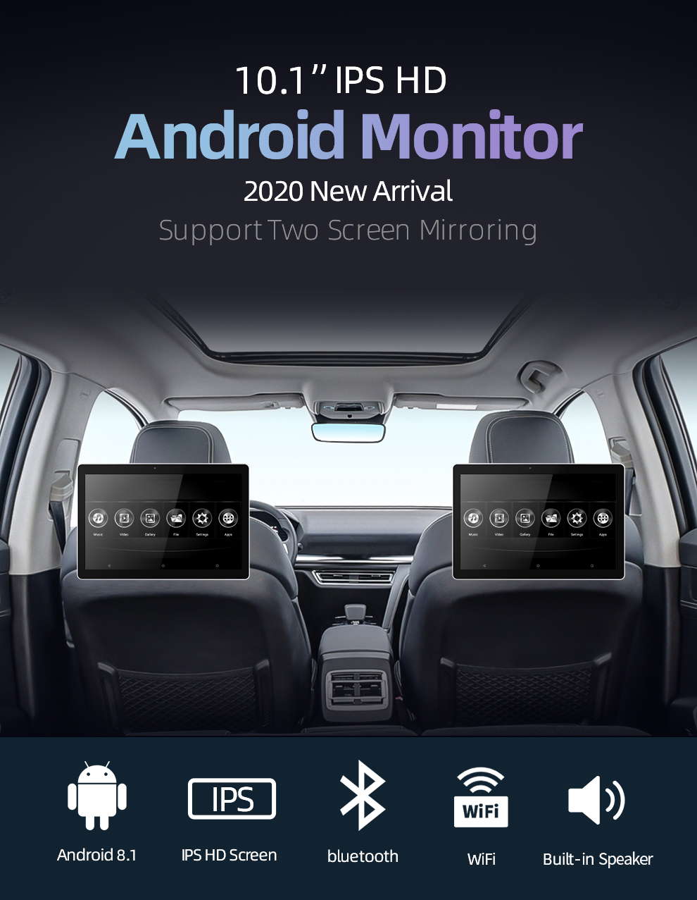 10.1 inch Android Car Headrest Monitor RAM 2GB 1080P video IPS Touch Screen 4G WIFI/Bluetooth/USB/SD/FM MP5 Video Player with DC