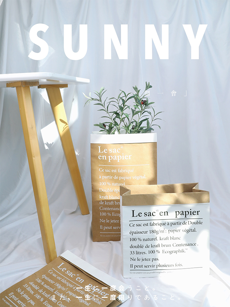 Photo Studio Props Double Layer Paper Thickening Kraft Paper Bags &Simulation Leaf Fake Foliage for Photography Background Items