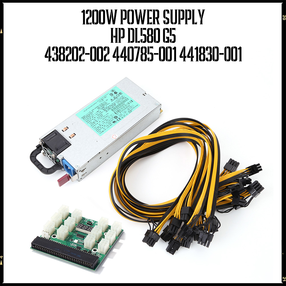 1200W Server Power Supply LED Breakout Board + 6Pin Male to (6+2)8P Male Power Supply Cables Adapter Kits for HP DL580 G5 PSU