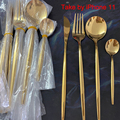24pcs Gold Dinnerware Set Stainless Steel Tableware Set Knife Fork Spoon Flatware Set Cutlery Set Bright light preview-2