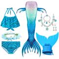 Swimming Mermaid Tail Kids Girls Costume Cosplay Children Swimsuit Fantasy Beach Bikini Can Add Monofin Fin preview-4