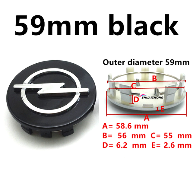 4pcs 59mm Black