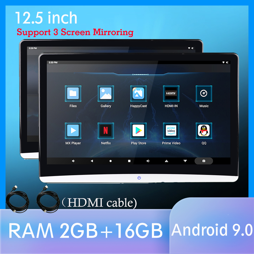 12.5 Inch Android 9.0 Car Headrest Monitor Same Screen 4K 1080P Video IPS MP5 WIFI/Bluetooth/USB/SD/HDMI/FM/Mirror Link/Miracast