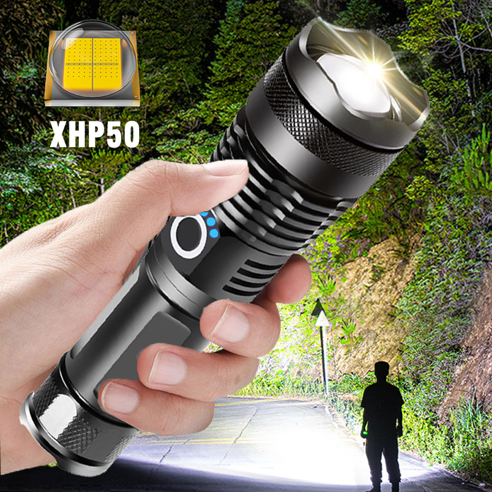 ZHIYU Adjustable Flashlight Strong Light Rechargeable LED Torch 18650 or 26650 Battery Zoom 5 Modes Outdoor Camping Emergency