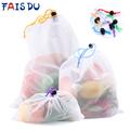 5pcs Colorful Reusable Fruit Vegetable Bags Net Bag Produce Washable Mesh Bags Kitchen Storage Bags Toys Sundries preview-1