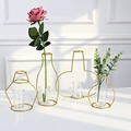Gold Retro Iron Line Table Flowers Vases Nordic Decoration Home Metal Plant Holder Nordic Styles Flower Vase Home Decor 8 Shapes preview-1