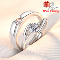 2pcs/Set Adjustable Heart-Shaped Letter Copper 30% Silver Plated Crystal Couple Ring Men Women Jewelry Wholesale Dropshipping preview-6