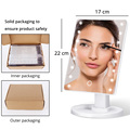 LED Makeup Mirror Illuminated Cosmetic Table Mirror With Light for Make Up Adjustable Light 16/22 Touch Screen Eyelash Brush preview-6
