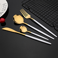 24Pcs New Green Gold Cutlery Set Mirror Dinnenrware Set Stainless Steel Flatware Dinner Knife Fork Spoon Teaspoon For Home preview-5