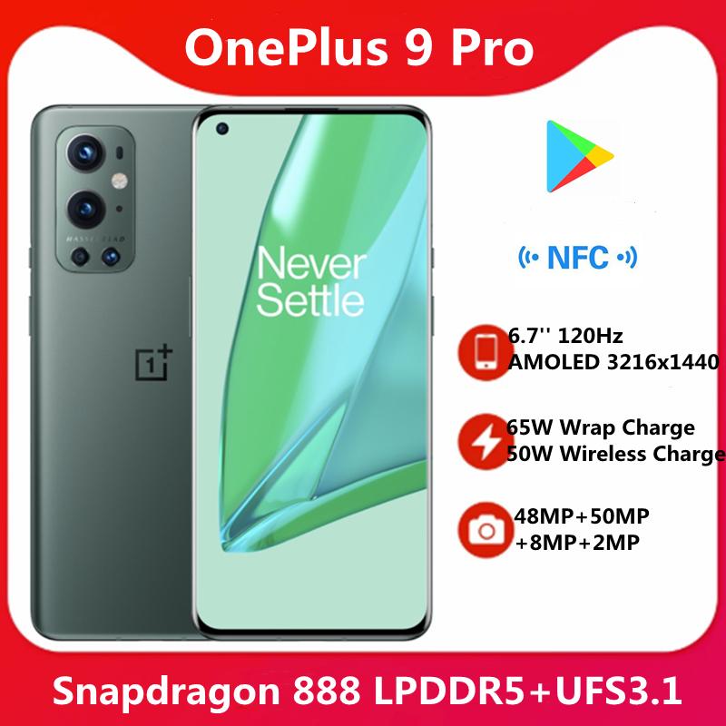Original OnePlus 9 Pro 5G Smart phone Snapdragon 888 6.7'' 3216x1440 120Hz Screen 65W Wrap Charge 50W Wireless Charge NFC