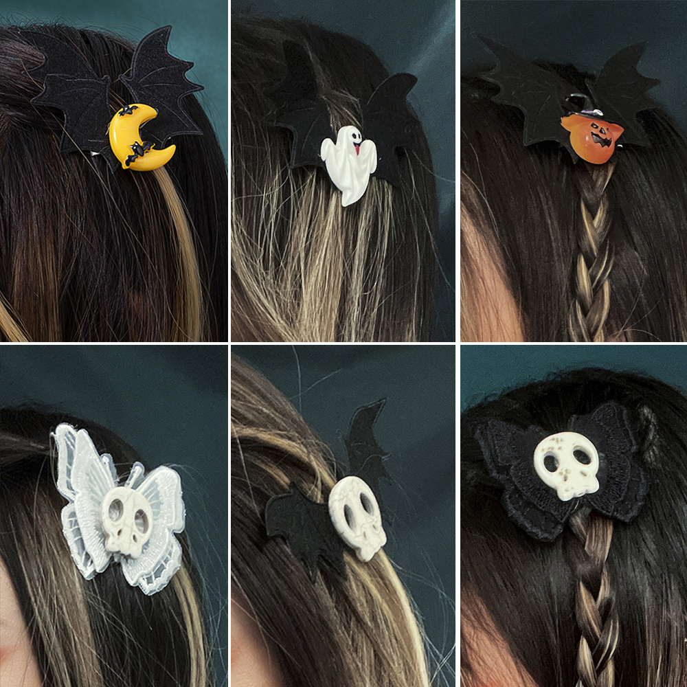 Cosysail Halloween Decoration Hair Accessories for Female Girl Butterfly Skull pumpkin bat wings Hair Clip Headwear Cosplay 2021