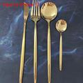 24pcs Gold Dinnerware Set Stainless Steel Tableware Set Knife Fork Spoon Flatware Set Cutlery Set Bright light preview-3