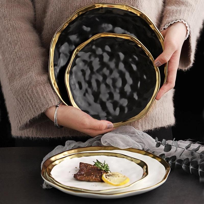1\2pcs Gilt Rim Black Porcelain Dinner Plate Set Nordic Ceramic Plate Salad Dessert Christmas Plates Full Set Of Tableware