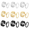 LATS Trendy Lover Star Moon Aircraft Cherry Dinosaur Mushroom Butterfly Rings for Women Men Couple Open Ring Set 2021 Jewelry preview-3