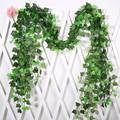 1Pc 230Cm Green Vine Silk Artificial Ivy Hanging Leaf Garland Plants Creeper Leaf Home Decor Wedding Bathroom Garden Decoration preview-3