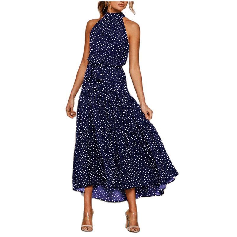 Women Elegant Maxi Dress Sexy Sleeveless O Neck Dress Casual Floral Ruffle Thin Beach Dress Lady Spring Summer Party Dresses