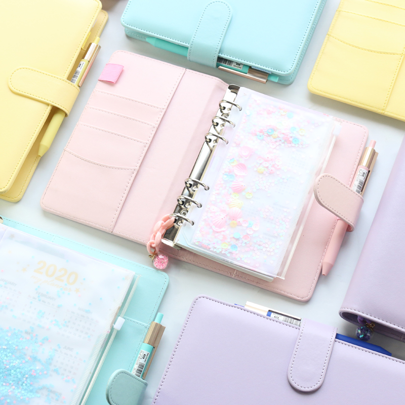2021 new macaron office school spiral notebooks stationery,cute personal binder weekly planner agenda organizer,rose gold,A5A6