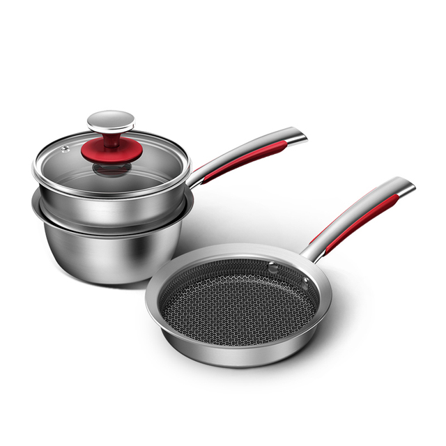 KOBACH kitchen pan set 16cm breakfast pots for kitchen frying pan milk pot stainless steel cooking pots nonstick cookware sets