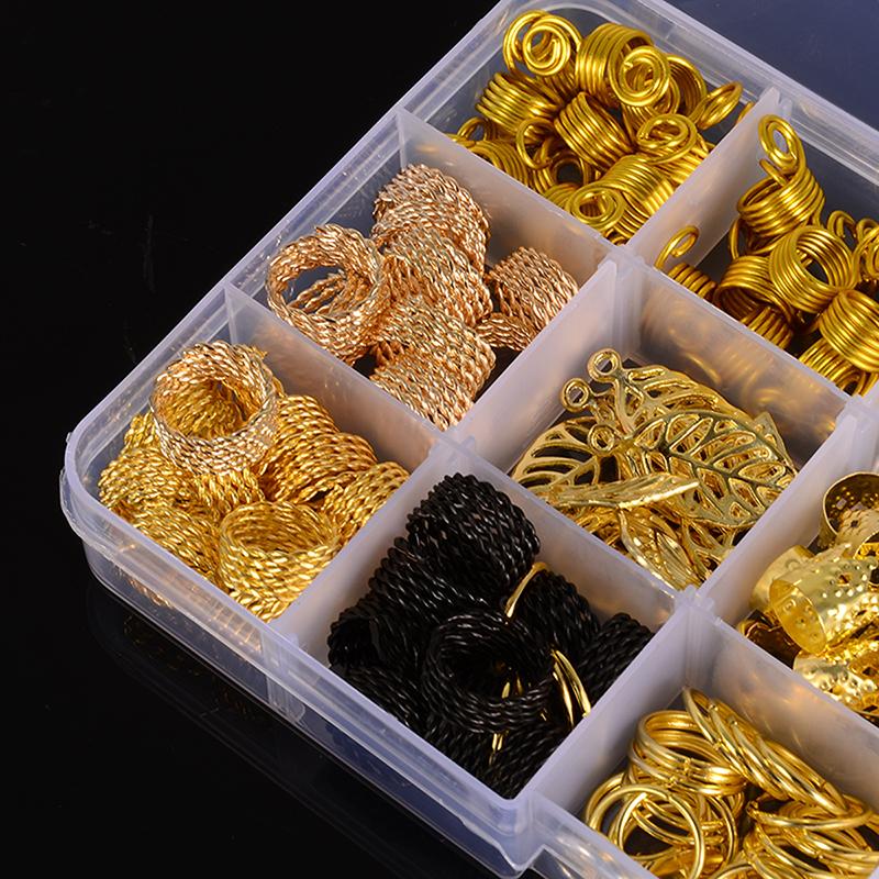200Pcs Hair Coil Dreadlocks Hair Braid Rings Dreadlocks Hair Braid Cuffs Beads DIY Hair Accessories Jewelry Pendants Bead Cuff