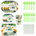 New! Wild One Birthday Party Balloons Jungle Safari Party Forest Decoration Kids First 1st Birthday Safari Jungle Party Supplies preview-2