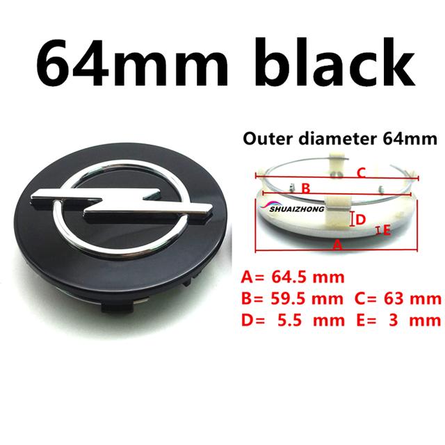 4pcs 64mm Black