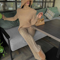 GACVGA Knit Long Sleeve Sweater Women Top And Pants 2021 Streetwear Two Piece Set Casual Loose Tracksuit Chic Pant Suits Outfit preview-4