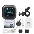 Tyre Temperature Monitoring Alarm System with 2 External Sensors USB Solar Charging Motorcycle TPMS Motor Tire Pressure preview-1
