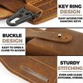 Retro Belt Waist Men's Bag Sports Running Outdoor Sports Cell Phone Leather Waist Bag For 2 Phone Men Multi-Function Key Pen Be preview-6