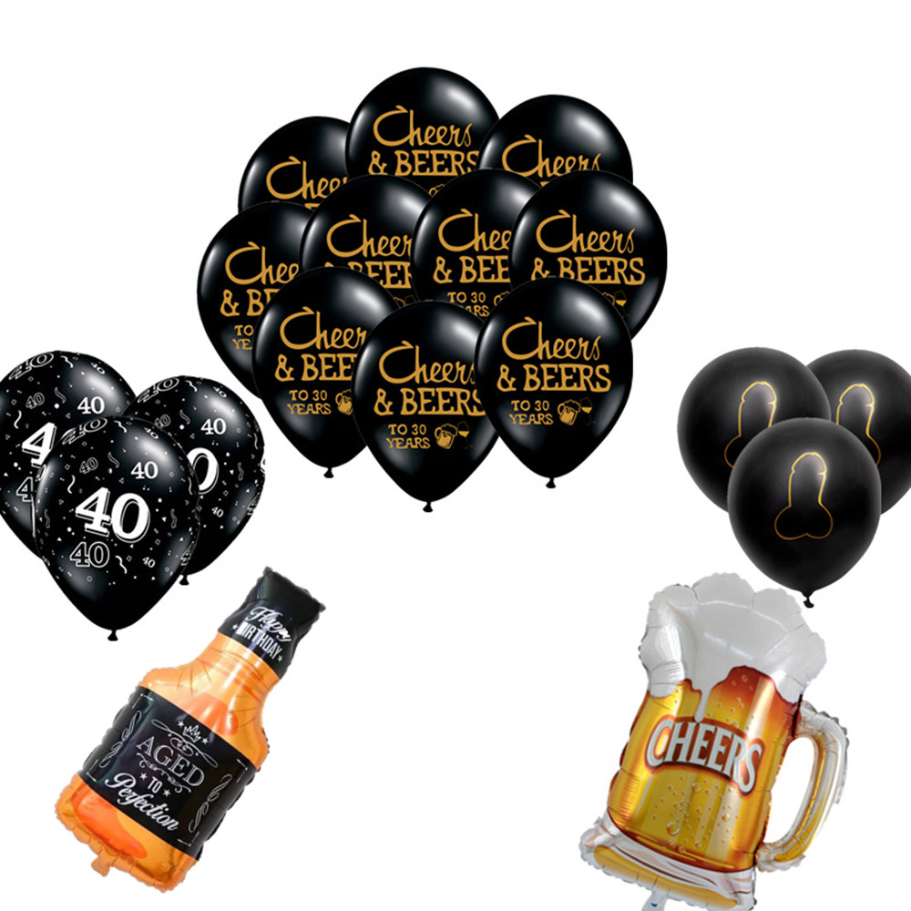 1set 10inch CHEERS BEERS To 21 30 40 50 Year Latex Balloon Birthday Party Celebration Bachelor Party Balloons Supplies Globos