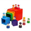 Baby Toys Large Rainbow Stacker Wooden Toys For Kids Creative Rainbow Building Blocks Montessori Educational Toy Children preview-2