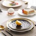 1\2pcs Gilt Rim Black Porcelain Dinner Plate Set Nordic Ceramic Plate Salad Dessert Christmas Plates Full Set Of Tableware preview-4