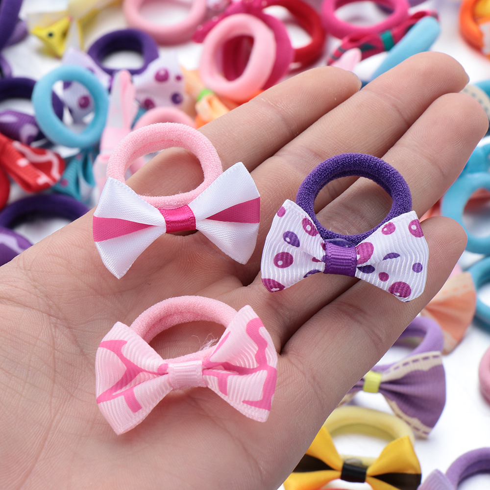 10Pcs Polka Dots Bow Hair Ring Rope Elastic Hair Rubber Bands Hair Accessories for Girls Hair Tie Ponytail Holder Headdress