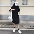 T-shirt Dress for Women Summer 2021 New Korean Style Loose Polo Collar Small Student Mid-Length Dress Ins preview-3