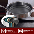 KOBACH frying pan 26cm honeycomb nonstick pan 304 stainless steel frying pan kitchen nonstick skillet frying pan with lid preview-4