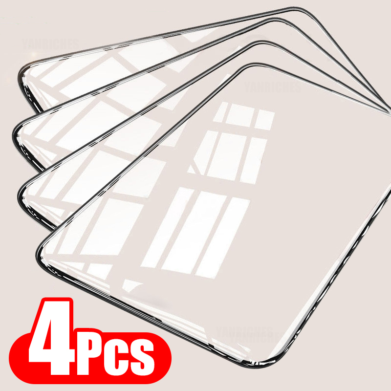 4Pcs Full Cover Tempered Glass For Xiaomi Redmi Note 9 8 7 9S 10 Pro Max Screen Protector For Poco F3 X3 M3 X3 Pro NFC Glass