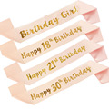 Birthday Party Decoration 18 21 30 40 50 Rose Gold Satin Sash Crystal Crown Tiara Happy Birthday Anniversary Party Supplies preview-2