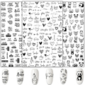3D Flower Nail Stickers Women Face Sketch Abstract Butterfly Image Sexy Girl Nail Art Decor Sliders Manicure Stickers for Nails preview-6