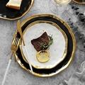 1\2pcs Gilt Rim Black Porcelain Dinner Plate Set Nordic Ceramic Plate Salad Dessert Christmas Plates Full Set Of Tableware preview-3