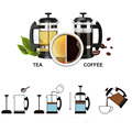 French Press Coffee/Tea Brewer Coffee Pot Coffee Maker Kettle 1000ML Stainless Steel Glass Thermos For Coffee Drinkware preview-5