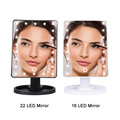 LED Makeup Mirror Illuminated Cosmetic Table Mirror With Light for Make Up Adjustable Light 16/22 Touch Screen Eyelash Brush preview-5