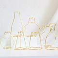 Gold Retro Iron Line Table Flowers Vases Nordic Decoration Home Metal Plant Holder Nordic Styles Flower Vase Home Decor 8 Shapes preview-3