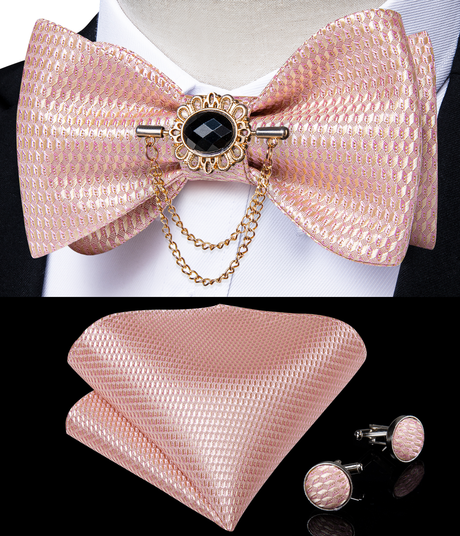 Pink Plaid Solid Men's Self Tie Bow Tie Silk Jacquard Woven Wedding Party Bowtie Hanky Brooch Set Men Butterfly Necktie DiBanGu