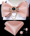 Pink Plaid Solid Men's Self Tie Bow Tie Silk Jacquard Woven Wedding Party Bowtie Hanky Brooch Set Men Butterfly Necktie DiBanGu preview-1