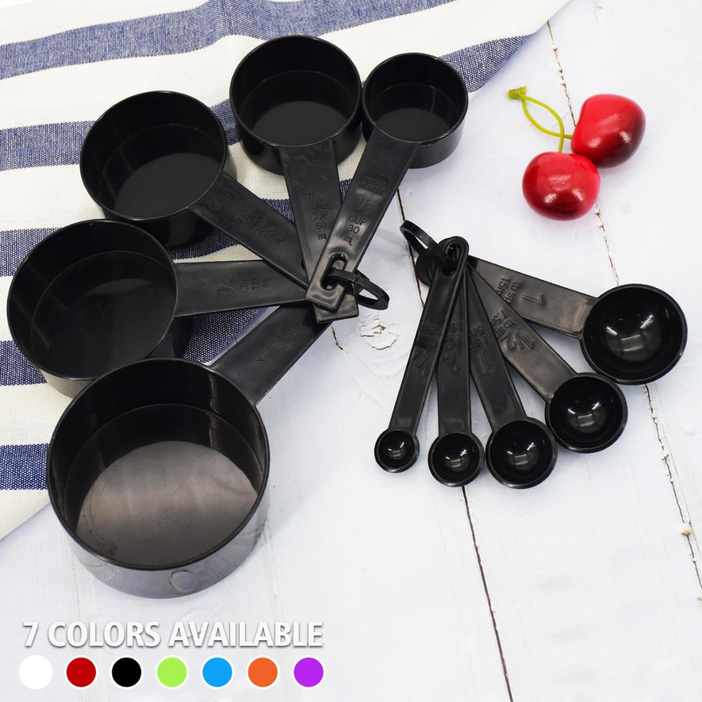 10pcs 7 Color Measuring Cups And Measuring Spoon Scoop Silicone Handle Kitchen Measuring Tool FreeShipping