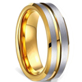 FDLK   8MM Men's Black Stainless Steel Ring Blue Red Groove Beveled Edge Wedding Engagement Anniversary Ring Jewelry For Men preview-6