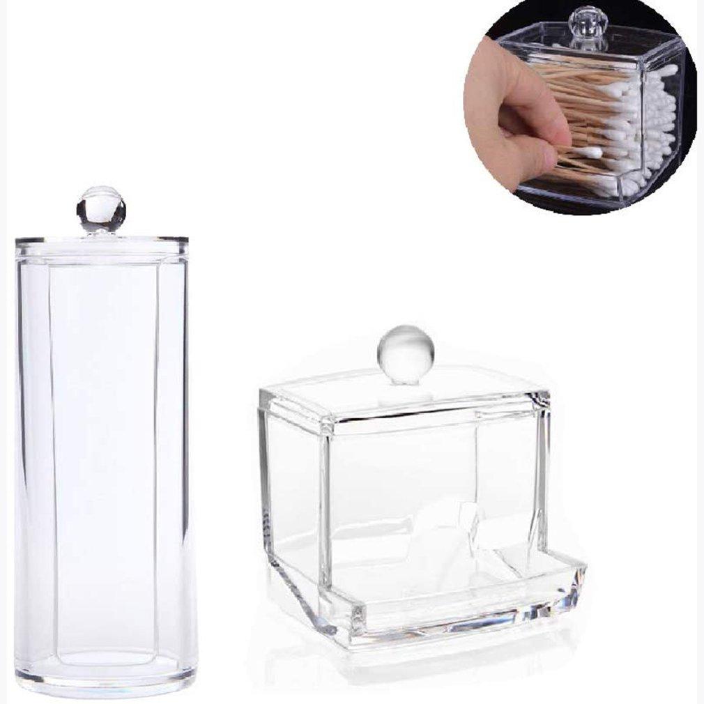 Transparent Cotton Puff Storage Box Square Round Cotton Swab Desktop Dustproof Clear Makeup Jewelry Organizing Box