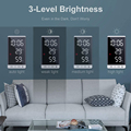 6 Inch LED Mirror Alarm Clock Touch Button Wall Digital Clock Time Temperature Humidity Display USB Output Port Table Clock preview-4