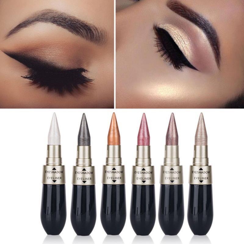 2 In 1 Black Liquid Eyeliner Eye Shadow Pencil Waterproof Long Lasting Quick Dry Easy To Wear Natural Eye Makeup TSLM2