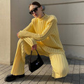 GACVGA Knit Long Sleeve Sweater Women Top And Pants 2021 Streetwear Two Piece Set Casual Loose Tracksuit Chic Pant Suits Outfit preview-6