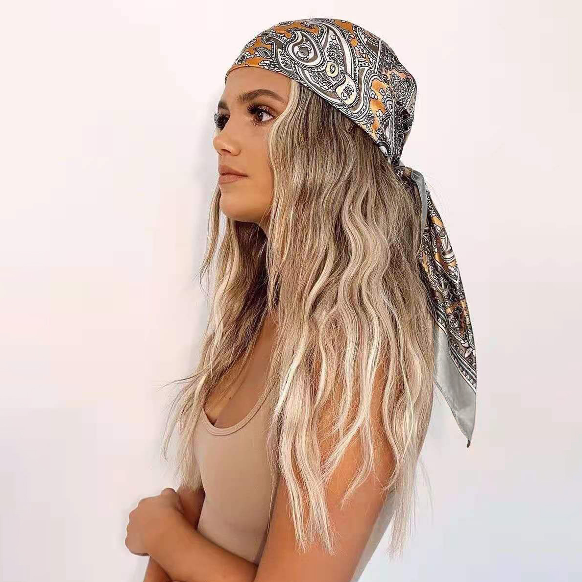 Luxury Brand Scarf Women Fashion Designer Beautiful Foulard Soft Satin Shawl Silk Kerchief 90*90cm Square Neck Headscarf Bandana